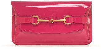 Gucci Bright Bit Patent Leather Clutch Bag, Pink
