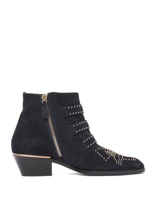 Chloé Susanna Suede Studded Booties in Celtic Night