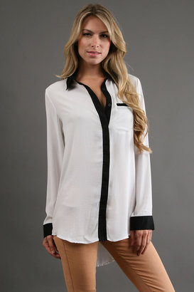 Free People Silky Crepe Button Down in Ivory