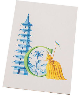 """Gump's Chinoiserie """"C"""" Notecards, Set of 6"""