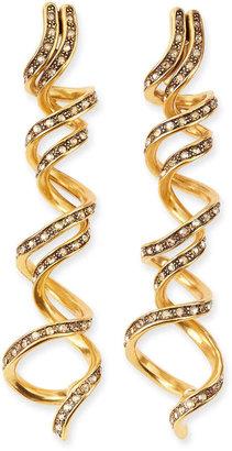 Oscar de la Renta Pave Crystal Spiral Earrings