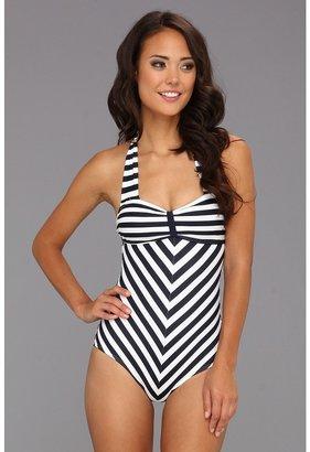 Dinah Unique Vintage One-Piece Swimsuit (Black/White) - Apparel