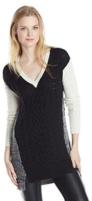 Design History Women's Colorblock Mixed Stitch Pullover Sweater $28.79 thestylecure.com