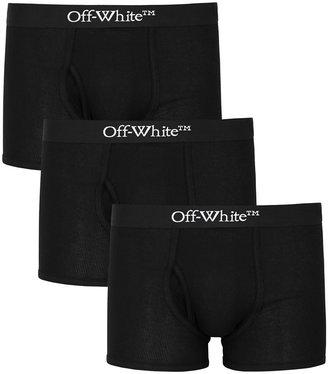 Off-White Black Stretch-cotton Boxer Briefs - Set Of Three