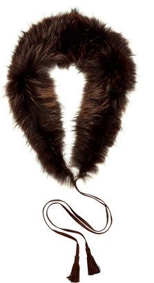 Just Cavalli Chocolate Raccoon Fur Shawl Collar