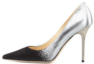 Jimmy Choo Abel Metallic Suede-Toe Pump, Black/Silver