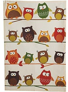 JCPenney Perched Owls Printed Dish Towel