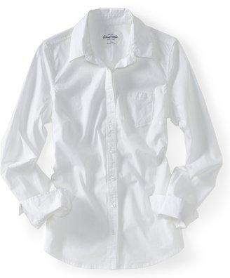 Aeropostale Long Sleeve Solid Poplin Woven Shirt