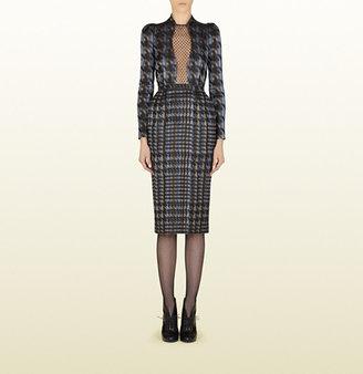 Gucci Contrast Print Silk Dress