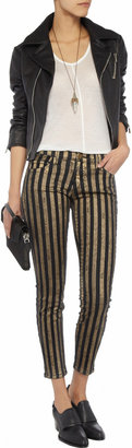 Current/Elliott The Stiletto cropped striped mid-rise skinny jeans