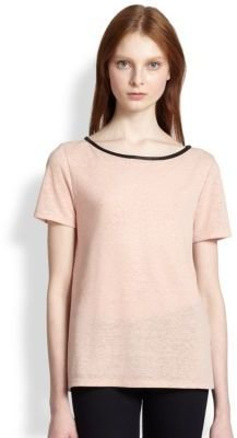 Alice + Olivia Sterling Leather-Trimmed Cutout-Back Tee