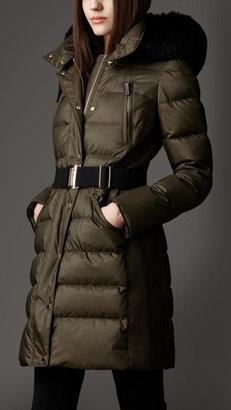 Burberry Fur Trim Puffer Coat