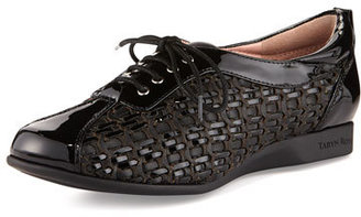 Taryn Rose Trudee Woven Lace-Up Sneaker, Black $299 thestylecure.com