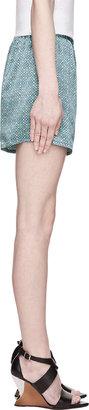 Balmain Pierre Blue Patterned Silk Tap Shorts