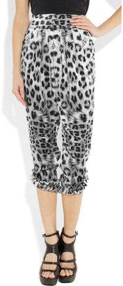 Thomas Wylde Demon Dog leopard-print cropped silk-charmeuse pants