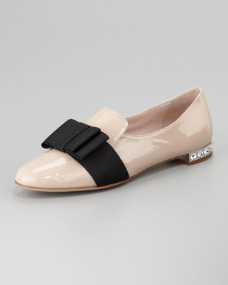 Miu Miu Patent Leather Grosgrain Bow Loafer, Pale Pink