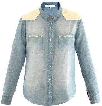 IRO Travis leather-trimmed shirt