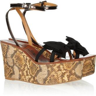 Lanvin Snake-print wedge sandals