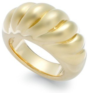 Italian Gold Signature Gold Ribbed Dome Ring in 14k Gold over Resin