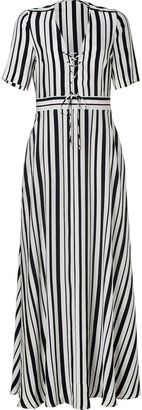 Paul & Joe White/Black Striped Silk Maxi-Dress