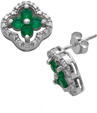 Sterling Silver Diamond Accent & Simulated Emerald 4-Leaf Clover Stud Earrings