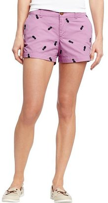 "Old Navy Women's Embroidered-Twill Shorts (3-1/2"")"