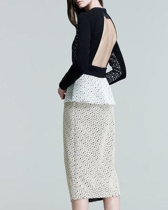 Proenza Schouler Long-Sleeve Peplum Dress, Black/Cream