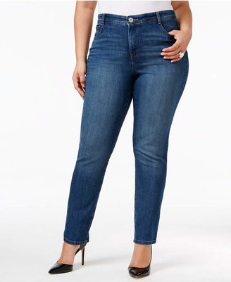 Style & Co Plus Size Tummy-Control Slim-Leg Jeans, Only at Macy's $59 thestylecure.com