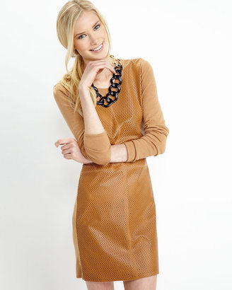 Neiman Marcus Leather-Front Sweater Dress, Camel