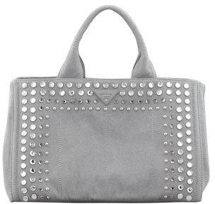 Prada Studded Denim Tote Bag, Blue-Gray