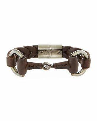 Gucci Men's Leather Horsebit Bracelet, Brown $790 thestylecure.com