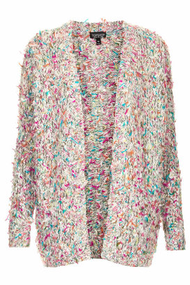 Topshop Chunky slouchy fit knitted festival cardigan with bright multi-coloured flecks. 42% acrylic, 24% wool, 17% nylon, 17% polyester. machine washable.