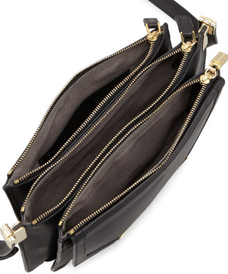 Trilogy Time's Arrow Mini Leather Crossbody Bag, Black