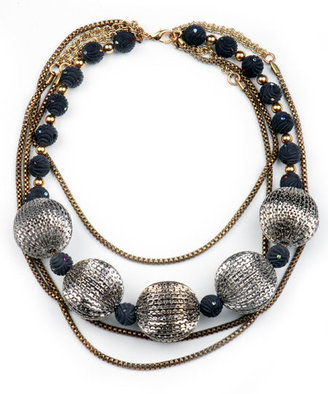 Nicole Romano Black and Silver Bead Multi Chain Necklace