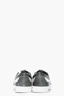 Balmain PIERRE Grey paneled leather Sneakers