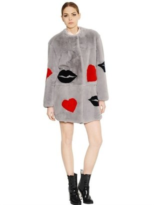 MSGM Rabbit Fur W/ Lips & Heart Coat