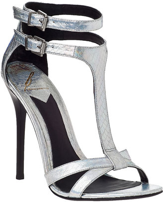 Brian Atwood Laetitia Evening Sandal Silver Snake