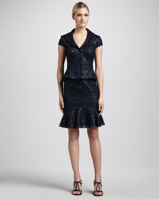 Kay Unger New York Sequined Lace Skirt Suit, Navy