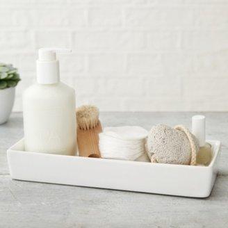 The White Company Newcombe Ceramic Rectangular Tray, White, One Size