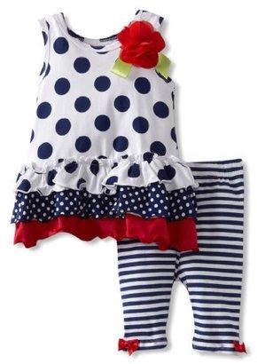 Bonnie Baby Girls Infant Navy Polka Dot Legging Set