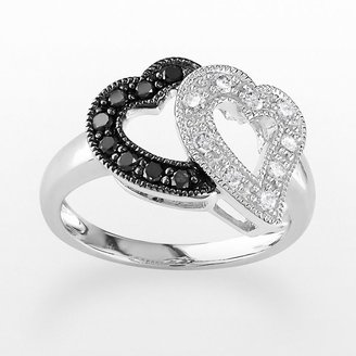 10k White Gold 1/4-Ct. T.w. Black & White Diamond Heart Ring