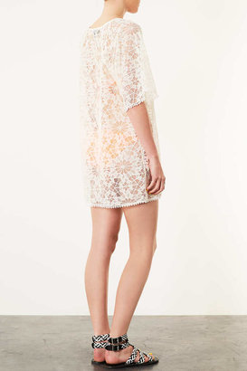 Topshop Cream Lace Kaftan Cover Up