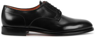 Santoni Kenneth Black Leather Oxford Shoes