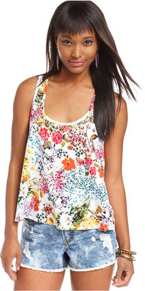 Material Girl Juniors Top, Sleeveless Floral-Print Studded Tank