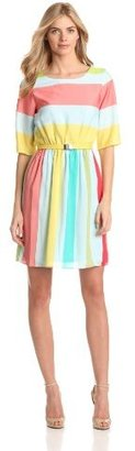 Gabby Skye Women's Stripe Belted Fit And Flare Dress