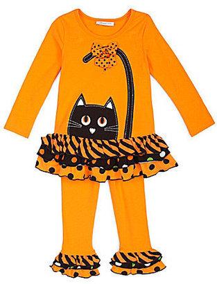 Bonnie Jean 2T-4T Halloween Cat Face Dress & Leggings Set
