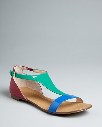 Boutique 9 Colorblock T Strap Flat Sandals - Piraya