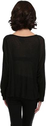 Lauren Moshi Cross Ribbed Dolman Sleeve Top in Black