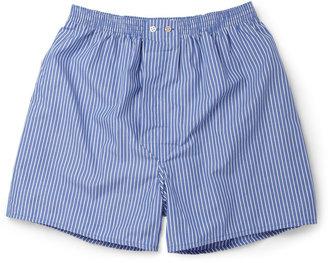 Derek Rose York Striped Cotton Boxer Shorts $45 thestylecure.com