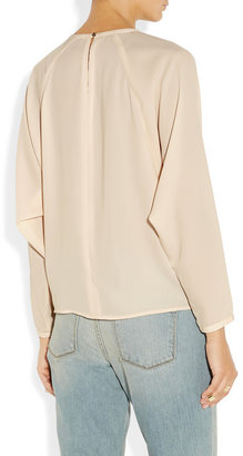 J Brand Luciana pleated twill blouse